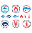 set of seafood emblems fish lobster squid design vector image