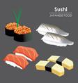 sushi roll food japanese cartoon vector image