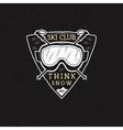 Winter Ski club label design Sports shield badge vector image