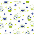tea bag blueberry seamless pattern vector image