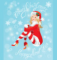 Blond Pin Up Christmas Girl wearing Santa Claus su vector image vector image