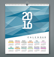 Calendar 2016 triangles geometric blue background vector image vector image