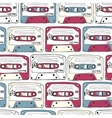 Music symbols Seamless pattern of ratro cassettes vector image