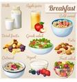 Breakfast 2 Set of cartoon food icons vector image
