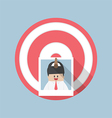 Businessman picture stick on target by arrow vector image