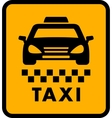 cab car silhouette on yellow taxi icon vector image