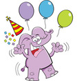 Cartoon elephant with balloons vector image