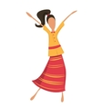 Retro woman or hipster dancing in retro dress vector image