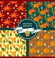 set of autumn foliage seamless patterns vector image