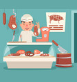Meat shop counter butcher seller retro vintage vector image