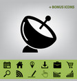 satellite dish sign  black icon at gray vector image