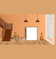 mockup living room interior with empty frame vector image