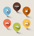 Set of retro round flat transport pointers vector image