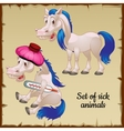 Sick and healthy white horses vector image