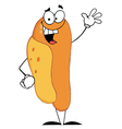 Lucky Hot Dog Waving A Greeting vector image