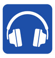 blue white information sign - headphones icon vector image