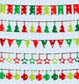 Christmas background with garlands and buntings vector image