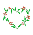 Evergreen Leaves in A Heart Shape Frame vector image