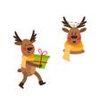 flat christmas reindeer isolated set vector image