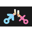 Male sign and female sign Drink wine Hands holding vector image