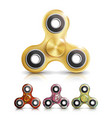spinner toy set bright plastic fidgeting vector image