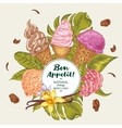 Tropical background with soft ice cream vector image