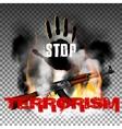 Stop terror hand and Kalashnikov machine gun in vector image