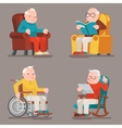 Grandfather Old Man Characters Sit Sleep Web vector image