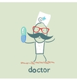 doctor with a pill vector image