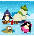 polar bear walrus penguin on rink vector image