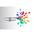 Gold trumpet with abstract colorful flowers on vector image vector image