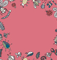 Cute cartoon insect border pattern Summer concept vector image