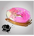 Donut with pink glazed vector image