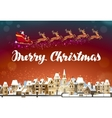 Merry Christmas Santa Claus in sleigh flying over vector image