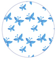 Pattern with blue butterflies watercolor vector image