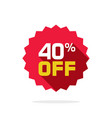 sale tag badge template 40 percent off vector image