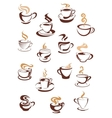 Steaming coffee cups set vector image