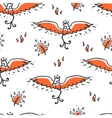Seamless pattern with phoenix and feathers vector image