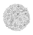 Coloring page with dolphin in floral circle vector image