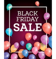 Black friday sale background with flying balloons vector image