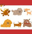 cute dog cartoon characters set vector image