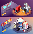 3d cinema banners collection vector image