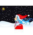 christmas star and girl vector image