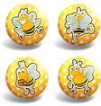 Set of yellow bee badges vector image