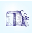 open gift box hand drawn llustration vector image vector image