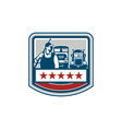 Power Washer Worker Truck Train Crest Retro vector image