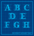 Blueprint Style Alphabet set 1 vector image