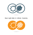 Brain and light bulb sign and infinite sign vector image