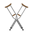 flat crutches isolated on white background vector image