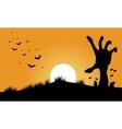 Hand zombie and bat halloween backgrounds vector image